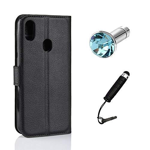 Lusee Kunstliches Leder Tasche für Leagoo S9 5.85 Zoll Ledertasche Case Cover mit Silikon Hülle Etui Schutzhülle Standfuntion (schwarz) + Gratis Touchpen Staubschutz
