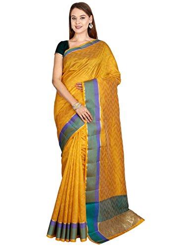 The Chennai Silks - Jute Cotton Saree With Colorblock Border - Artisan's...
