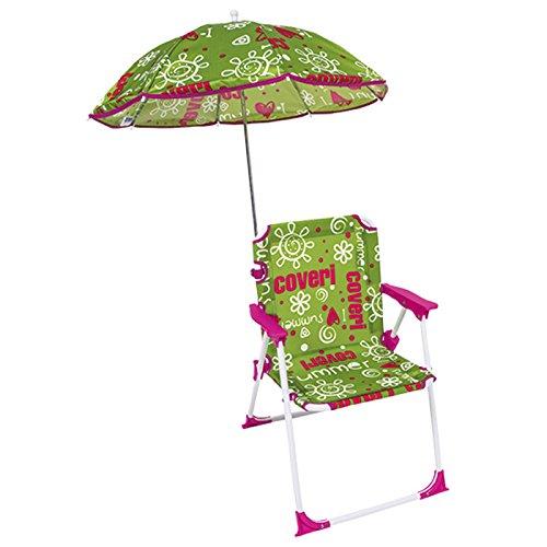Bakaji sedia regista per bambini pieghevole mare con ombrellone baby per mare spiaggia piscina 37x25x52cm (verde)