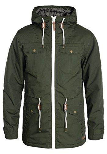 !Solid Tilas Herren Übergangsjacke Parka Mantel Lange Jacke Mit Kapuze, Größe:XL, Farbe:Climb Ivy (3785)