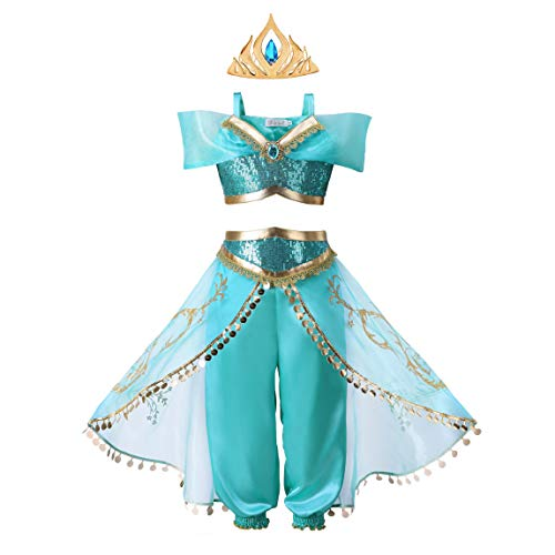 Princess Up Kostüm Dress - Pettigirl Mädchen Teal Princess Dress Up Kostüm mit Kronkamm