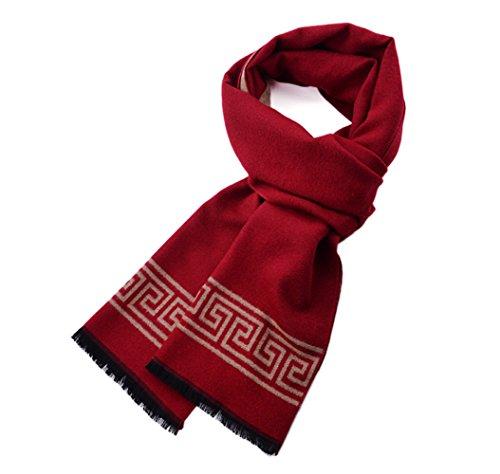 MMYOMI Herren Tartan Plaid Superweiche Baumwolle & Seide Strickschals für Herbst und Winter (Rot) (Herbst Tartan)