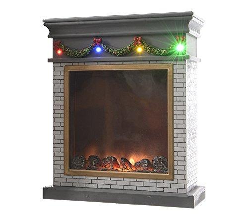 Mini Weihnachtskamin SANTAS CHIMNEY Weiss LED Beleuchtung Flacker-Licht 23x19cm