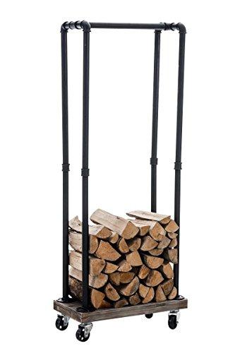 CLP Metall Kaminholz-Ständer Forks, Kaminholzregal mit Rollen, ca. 60 x 30 cm, Höhe ca. 150 cm Schwarz