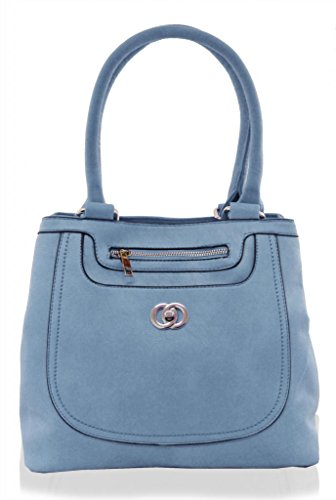 KUKUBIRD DOUBLE FRONT POCKET FAUX LEATHER DESIGNER TOTE MEDIUM SIZE HANDBAG SKY BLUE