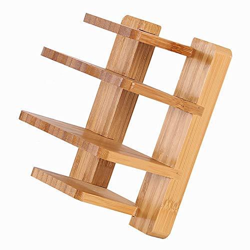 GCCLCF Bambus-Hackbrett Deckel-Regal Topf Topf Löffel Regal Küchenutensilien