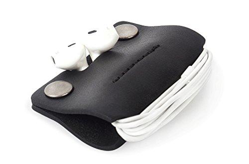 Italienisches Echtes Leder Kopfhörer Tasche Ohrhörer Hülle Kabel Draht Organisator Tragbar Etui Praktisch Zubehörteil Earphone Cord Wickeln - Leder Aus Kopfhörer-case