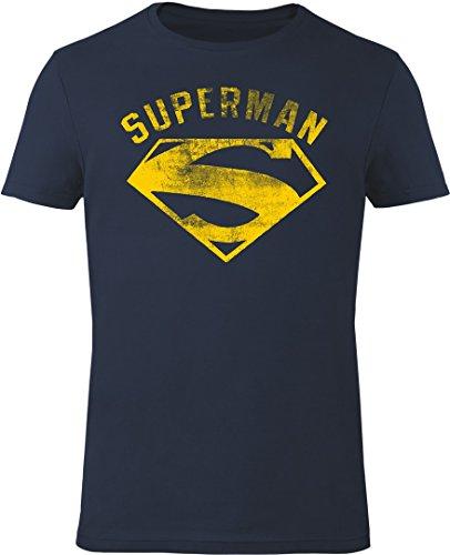 GOZOO Superman T-shirt Uomo Vintage Flock 100% Cotone, Stampa di Alta Qualitá Blu XL
