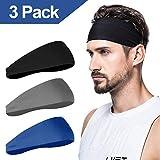 Herren Stirnband (3er Pack), Herren Schweißband & Sport Stirnband für Laufen, Radfahren, Yoga,...