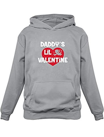 Cute Valentine's Day Gift - Daddy's Lil Valentine Kids Hoodie X-Large Gray