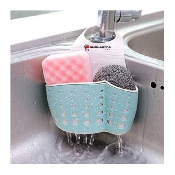 Dholakiya? D1-Uniquely Designed Sink Organizer Sponge Holder for Bathroom/Kitchen Sink Dholakiya Faucet Caddy?to Hold Various Bath or Kitchen Products, Colour May Very, Size-21-16-8cm