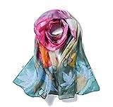 Invisible World Foulard Seta da Donna 100% Lunga Dipinta a Mano per Collo, Testa o Capelli - Bouquet di Primavera