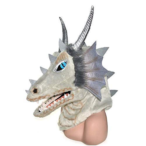 LZY Masken Adult Halloween Kostüm Full Face Lila Dragon Head Moving Mouth Tiermaske auf Halloween, Party, Karneval usw. Cosplay,Grau (Full Face Maske Kostüm)