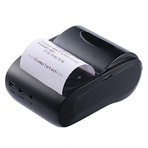 LESHP Impresora Térmica de Recibo Billetes Tickets Con Blutooth Inalámbrico Impresora Térmica de Tickets y Recibos (57mm, >90mm/s, Compatible con Windows y Todo Móvil) Impresora de Etiquetas