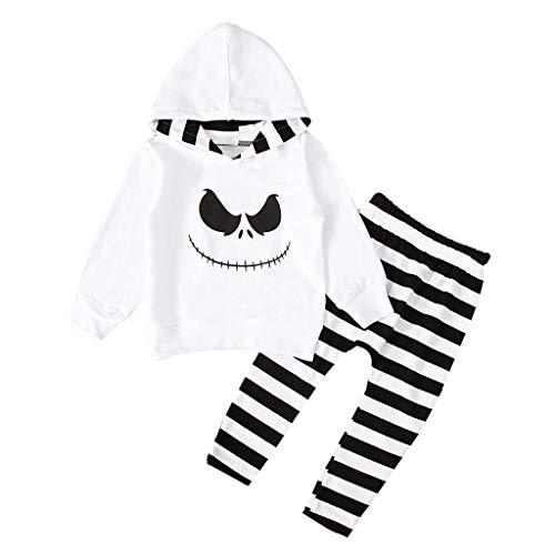 Tensay Halloween Kleinkind Jungen Mädchen Nightmare Print Hoodie Shirt Langarm Tops + Streifen Hosen Kostüm Set Kleidung - 80 Turnanzug Kostüm