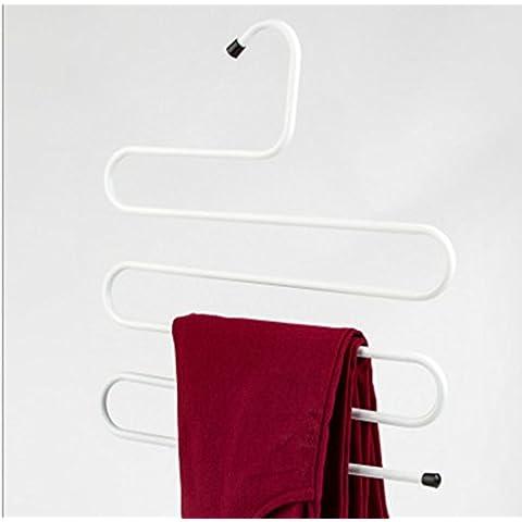 GYMNLJY Creativa in acciaio inox multifunzione Hanger metallo vestiti cremagliera ferro pantaloni rack (confezione da 10) ,