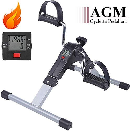AGM Mini Cyclette Pedaliera Fitness Pieghevole per Braccia e Gambe con LCD Display Pedaliera da Casa...
