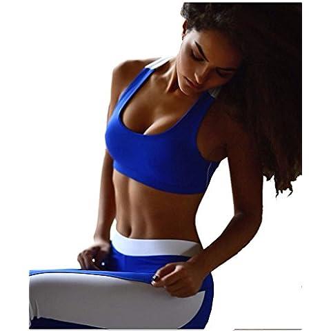 ALAIX 2 piezas Gimnasio Yoga Suit Los atletas de la técnica equipo de entrenamiento la primera opción de las mujeres Azul-L