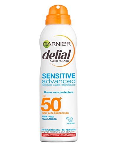 Garnier Delial Sensitive Advanced Bruma Seca Protector Solar para Pieles Claras, Sensibles e Intolerantes al Sol, Tacto Seco, IP50+ - 200 ml