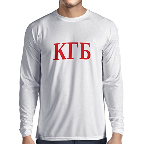 Langarm Herren t shirts Politisch - KGB, UdSSR - CCCP, Russisch, Русский (Large Weiß Rote) (Reichen Baumwolle-button)
