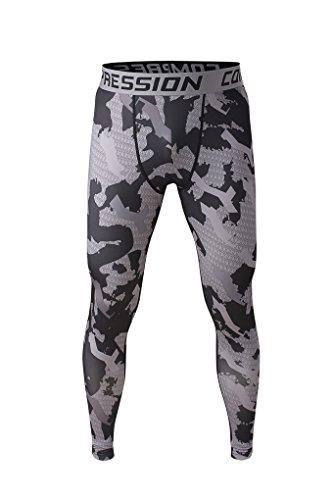 Fringoo Workout-Kompressions-Strumpfhosen für Herren zum Laufen, Fitness-Leggings, lange untere Lage, Thermo-Hose für Sport, Training Gr. L, Army Grey