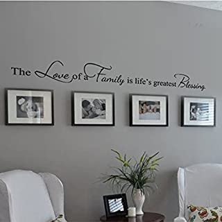 Family Decoration Wall Decal Couple Wall Stickers Living Room Wall Quotes The Love Of A Family Is Life¡¯s Greatest Blessing£¨Large,Black£©