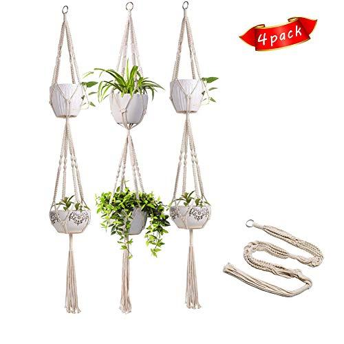 DZWJ Pflanzenhänger, Indoor Outdoor 2 Tier hängenden Pflanzkorb Baumwolle Seil 4 Beine für Indoor Outdoor Home Decoration 4 PCS -