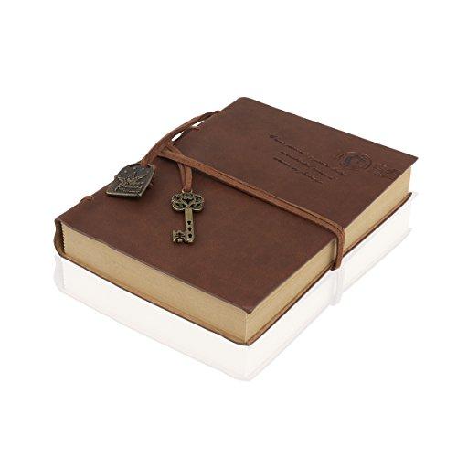 Foxnovo Notizbuch Leder-Foxnovo String Tastenhub Journal Tagebuch Skizzenbuch (Kaffee)