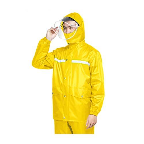 GSH-RAINCOAT Plain Rainsuit Jacket Trouser Praktischer wasserdichter Regenanzug mit Kapuze, 2-teiliges Set, leichte Regenjacke - zum Radfahren, Spazierengehen, Reisen 30 Rainsuit