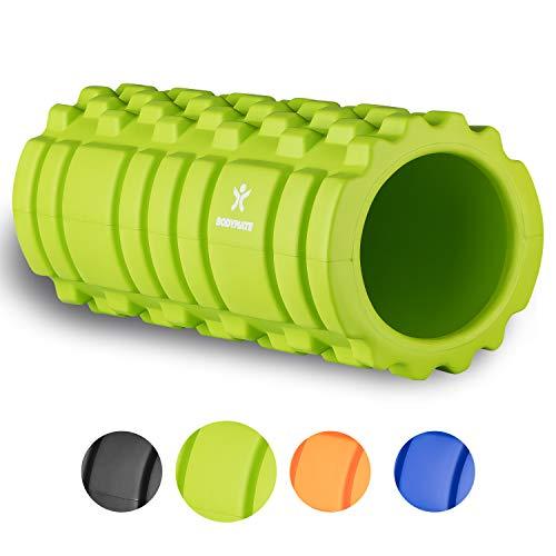 BODYMATE Faszienrolle Premium Lime inklusive E-Book zur Triggerpunkt-Selbstmassage - Massage-Rolle für myofasziales Training - Gymnastik-Rolle für Verklebungen Muskelbeschwerden - Fitness-Rolle