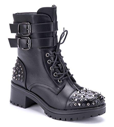 Schuhtempel24 Damen Schuhe Boots Stiefel Stiefeletten schwarz Blockabsatz Schnalle/Nieten/Ziersteine 5 cm