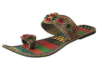 Ridhi Sidhi Women's Ethnic Handmade Floral Embroidered Flat Slipper (EU 36)