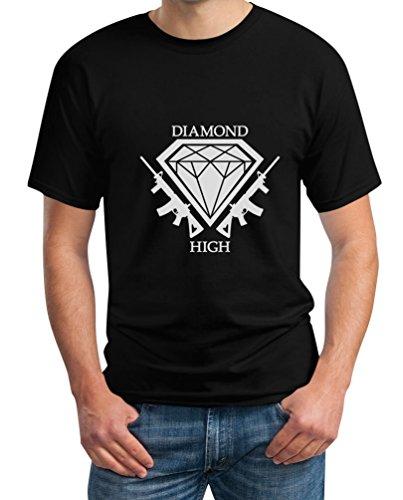 Diamond High mit Waffen - Dope Motiv für Hipsters T-Shirt Schwarz