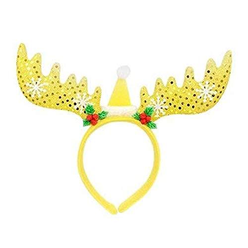 Timmershabi Frohe Weihnachten Stirnband Kinder Urlaub Geschenke Weihnachten Hoop Hair Headwear Big Geweih (Gold)