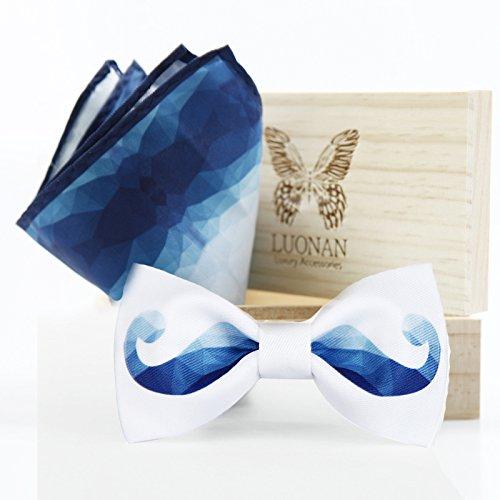 Haute qualité d'origine des noeuds papillon fait main hommes groom geyin noeud papillon en bois décorée Blue beard + handkerchief (wooden box)