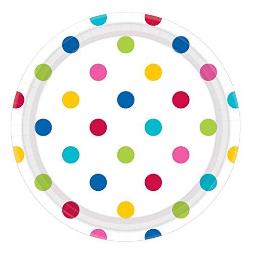 551537-9023cm Rainbow Dots Papier Teller ()