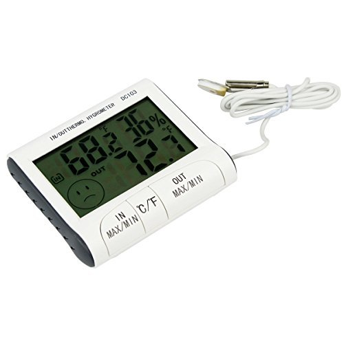 Indoor and Outdoor Digital Thermometer Hygrometer Temperature and Humidity Monitor Gauge with Detector and MIN/MAX Records DC103
