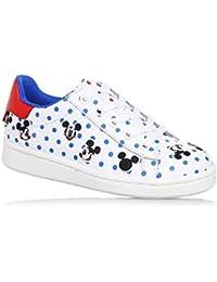 MOA -Zapato de cordones blanco de cuero, con motivo de lunares y decoraciones de Mickey Mouse, Niño, Niños