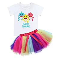 Baby Girls Birthday Shark Doo Doo Doo Romper + Tutu Dress 1st Birthday Outfit Set 3 T