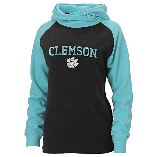 Ouray Sportswear NCAA Clemson Tigers Damen Posh asym-Episoden Hoodie, Damen, Charcoal Heather/Surf Heather