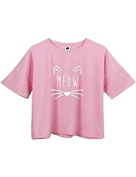 Yeesea Mujer verano casual suelto manga corta blusa de camiseta crop tops T-shirt