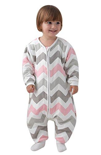 Gigoteuse bébé Manches Longues -garcon -Fille pyjama enfant toutes saisons confort combinaison à pieds Six couches de gaze. (M:80-90CM (12-24 mois), Rayures-Rose)