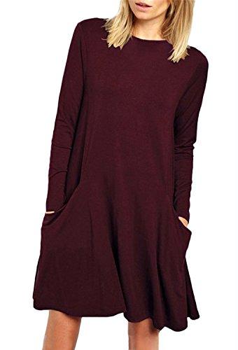 Minetom Donna Vestito Casuale T Shirt Swing Abito Manica Lunga Girocollo Beach Vestiti A Line Primavera Estate Mini Dress Con Tasche A Vino Rosso