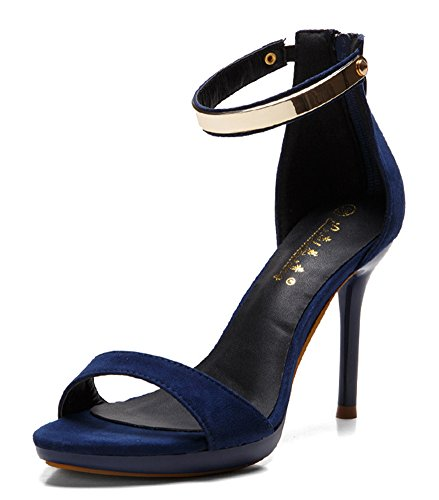 Aisun Damen Metall offene Zehe Knöchelriemchen Stiletto Sandalen Blau