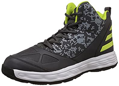 Adidas Men's Gcf-1 Dark Grey, Grey and Yellow Leather Basketball Shoes - 13 UK