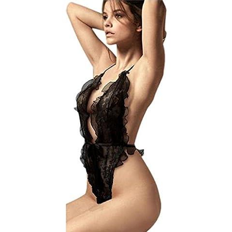 Sannysis - ROPA DE DORMIR Body de encaje, color negro