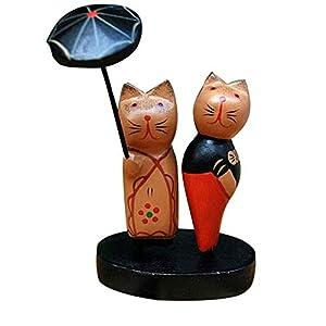 WFSDKN Dekoration Holzpaar Katzen Ornamente Innenausstattung Kreatives Paar Katze Holzfiguren Wohnaccessoires Geschenkartikel, Regenschirm Katze