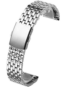 JSDDE Uhrenarmband massiv Edelstahl Klassisch Links Strap mit Faltschließe Metallarmband 18mm/20mm/22mm