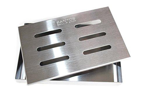 41qqfdKcMyL - Santos Smokerbox Räucherbox Edelstahl Grillzubehör für Gasgrill, Kohlegrill und Kugelgrill  Aromabox Maße 21x13x3,4 cm