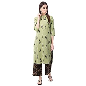RAJMANDIRFABRICS Women's Cotton Front Slit Kurta with Palazzo Set (PK1016054_M, Dark Green, Medium)